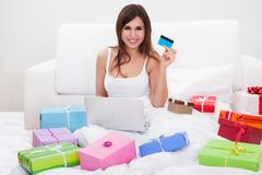 Young Woman Shopping Online Stock Images