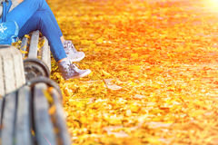 Young woman sitting on a bench in park. Young woman sitting on a bench in autumn park with yellow fallen leaves stock photo