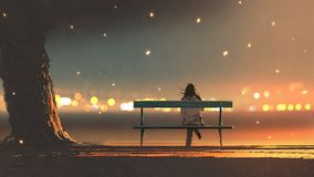 Young woman sitting on a bench with bokeh ligh. Back view of young woman sitting on a bench with bokeh light, digital art style, illustration painting Royalty Free Stock Image