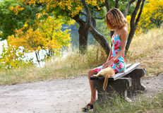 Young woman sitting on the bench and petting a cat Royalty Free Stock Images