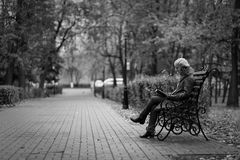 Young woman sitting on a bench and reading a book Royalty Free Stock Photo
