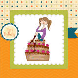 Young woman sitting on a big cake Stock Photo