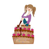 Young woman sitting on a big cake Stock Photography