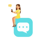 Young woman sitting on a big mobile app symbol and using her smartphone colorful character vector Illustration. On a white background Royalty Free Stock Photo