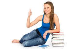 Young woman sitting with books Royalty Free Stock Photo