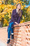 Young woman sitting on a brick wall Royalty Free Stock Photo