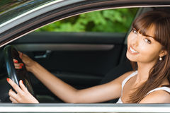 Young woman sitting car Royalty Free Stock Photo