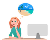 Young woman sitting in chair and dreaming about vacation on the island. Working. Cartoon style royalty free illustration