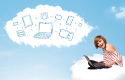 Young woman sitting in cloud with laptop Stock Photography