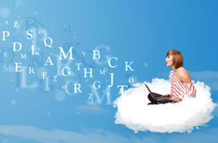 Young woman sitting in cloud with laptop royalty free illustration