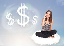 Young woman sitting on cloud next to cloud dollar signs Royalty Free Stock Image