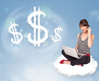 Young woman sitting on cloud next to cloud dollar signs Royalty Free Stock Photography