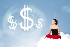 Young woman sitting on cloud next to cloud dollar signs. Pretty young woman sitting on cloud next to cloud dollar signs stock image