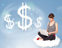 Young woman sitting on cloud next to cloud dollar signs. Pretty young woman sitting on cloud next to cloud dollar signs stock images