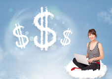 Young woman sitting on cloud next to cloud dollar signs. Pretty young woman sitting on cloud next to cloud dollar signs stock photos
