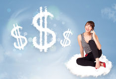 Young woman sitting on cloud next to cloud dollar signs royalty free illustration