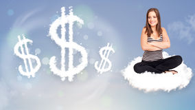 Young woman sitting on cloud next to cloud dollar signs Royalty Free Stock Images