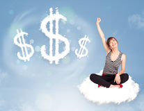 Young woman sitting on cloud next to cloud dollar signs Royalty Free Stock Photos