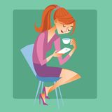 Young woman sitting with a Cup of coffee or tea and read the mes. Social networking and modern technology. Young woman sitting with a Cup of coffee or tea and royalty free illustration