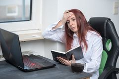Hard working woman, small business royalty free stock image