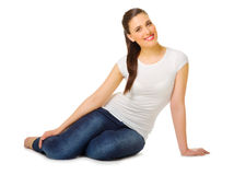Young woman sitting on the floor Royalty Free Stock Photo