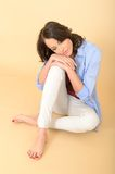 Young Woman Sitting on Floor Day Dreaming Stock Photos