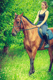 Young woman sitting on a horse Royalty Free Stock Image