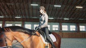 Young woman sitting on horseback and riding on covered sandy arena having practice. Woman on horse walking slowly on arena. Young woman sitting on horseback and stock video footage