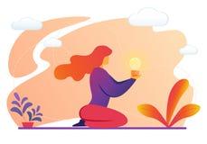 Woman Holding Illuminated Light Bulb in Hands. Young Woman Sitting on Knees Holding Illuminated Light Bulb in Hands. Creative Business Idea, Insight, Innovation vector illustration