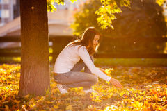 Young woman sitting next to a tree in a park royalty free stock images