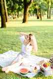 Young woman sitting on plaid with fruits in park. royalty free stock images