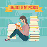 Young woman sitting read his favorite book. Education and school, study and literature. Flat young woman sitting in the library and reading a book. Vector Royalty Free Stock Photo