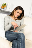 Electronic pad woman Stock Photos