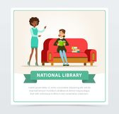 Young woman sitting on sofa and reading book in library, female librarian assisting reader, education, school, study and. Literature concept, national library vector illustration