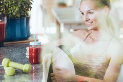 Drinking smoothie after workout stock photography