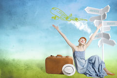 Young woman sitting and thinking about vacation. Woman thinks about travelling on the plane Royalty Free Stock Photo