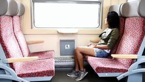 Young woman sitting in train. Young woman sitting in moving train stock video