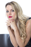 Young Woman Sitting Waiting Concerned Unhappy Alone Thoughtful Royalty Free Stock Photos