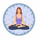 Young woman sitting in yoga lotus pose against the background of a circular ornament. Meditating girl illustration. Yoga woman Stock Photo