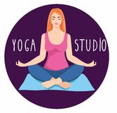 Young woman sitting in yoga lotus pose. Meditating girl illustration. Stock Photos