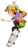 A young woman skateboarding Stock Photos