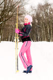 Young woman with ski Stock Photography