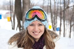 Young woman in ski goggles Stock Photography