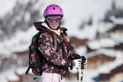 Young woman on ski resort Stock Photos