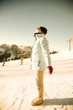 Young woman in ski resort Stock Photos
