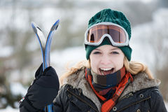 Young woman On Ski Vacation Stock Photo