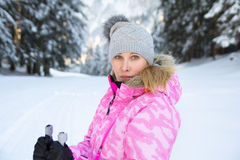 Young woman skier face Royalty Free Stock Photos