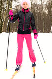 Young woman skiing Stock Photos