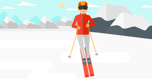 Young woman skiing. Young woman skiing on the background of snow capped mountain vector flat design illustration. Horizontal layout Royalty Free Stock Image