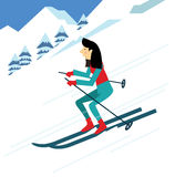 Young woman skiing. Royalty Free Stock Images
